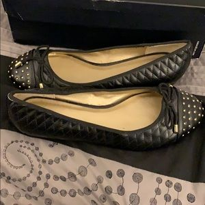 Never worn black with gold accent shoes